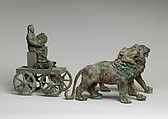 Bronze statuette of Cybele on a cart drawn by lions, Bronze, Roman
