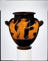 Terracotta stamnos (jar), Attributed to the Berlin Painter, Terracotta, Greek, Attic