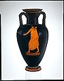 Terracotta neck-amphora (jar) with twisted handles, Attributed to the Kleophrades Painter, Terracotta, Greek, Attic