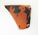 Fragment of a terracotta skyphos (deep drinking cup), Attributed to a follower of Douris, Terracotta, Greek, Attic