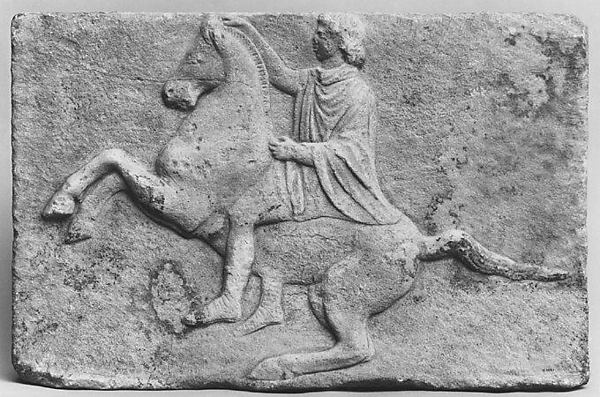 Marble relief with a horseman, Marble, Pentelic, Greek