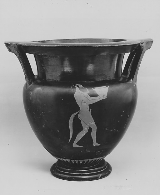 Terracotta column-krater (bowl for mixing wine and water), Attributed to the Pan Painter, Terracotta, Greek, Attic