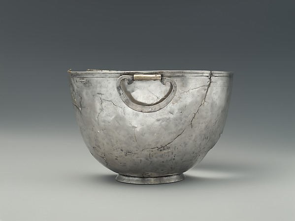 Silver bowl with swinging handles, Silver, Greek, South Italian