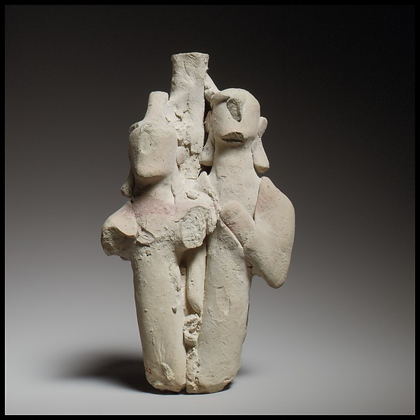 Group of three standing male figures, Terracotta, Cypriot