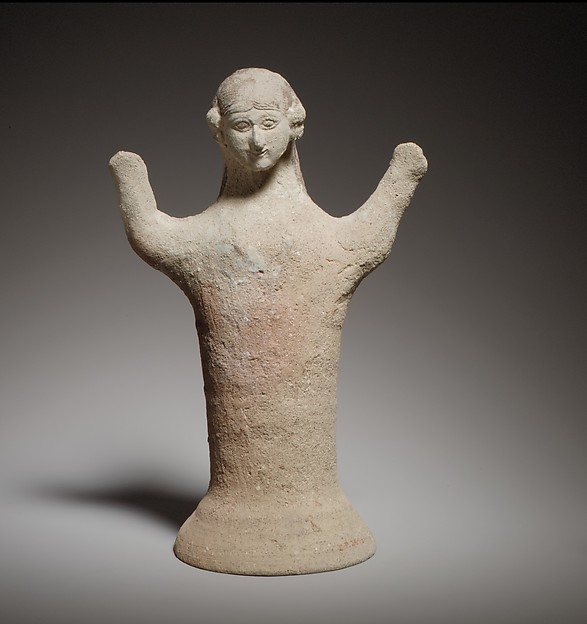 Terracotta statuette of a woman with raised arms, Terracotta, Cypriot