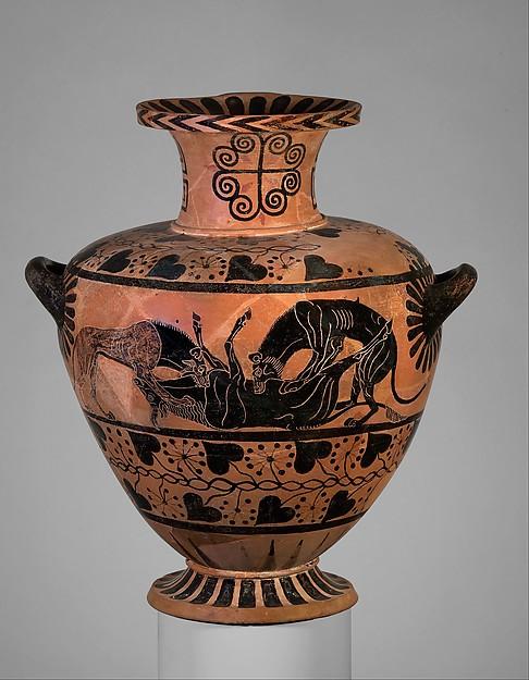 Terracotta hydria (water jar), Attributed to the Eagle Painter, Terracotta, Greek, Caeretan