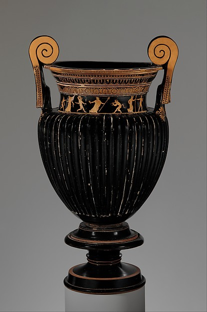 Terracotta volute-krater (bowl for mixing wine and water) with stand, Terracotta, Greek, Attic