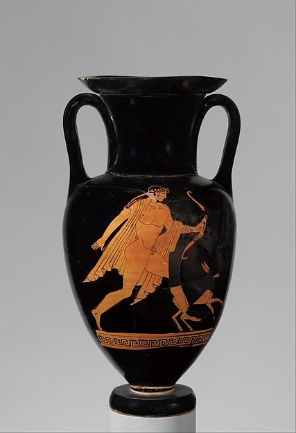 Terracotta Nolan neck-amphora (jar), Attributed to the manner of the Bowdoin Painter, Terracotta, Greek, Attic