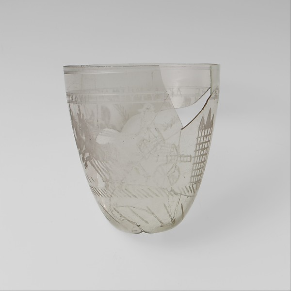 Glass beaker with victorious charioteer, Glass, Roman, Eastern Mediterranean