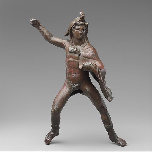 Bronze statuette of a rider wearing an elephant skin, Bronze, Greek