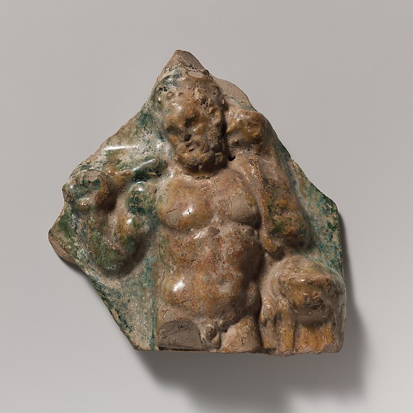 Terracotta vase fragment with figure of Hercules, Terracotta, Roman