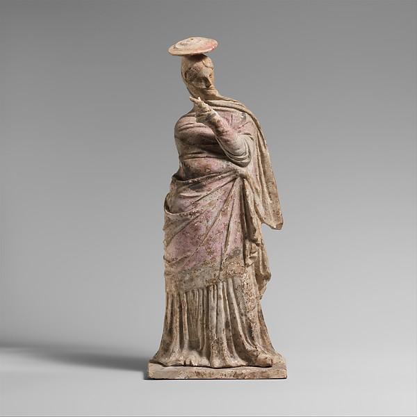 Terracotta statuette of a woman, Terracotta, Greek, perhaps from Asia Minor