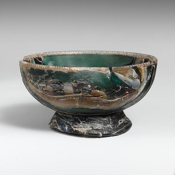 Glass striped mosaic bowl, Glass, cast, Greek, Eastern Mediterranean