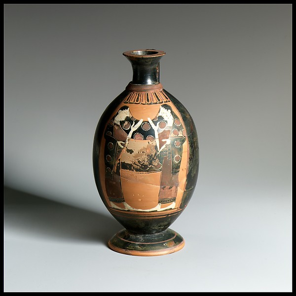 Terracotta lekythos (oil flask), Attributed to the Pharos Painter, Terracotta, Greek, Attic