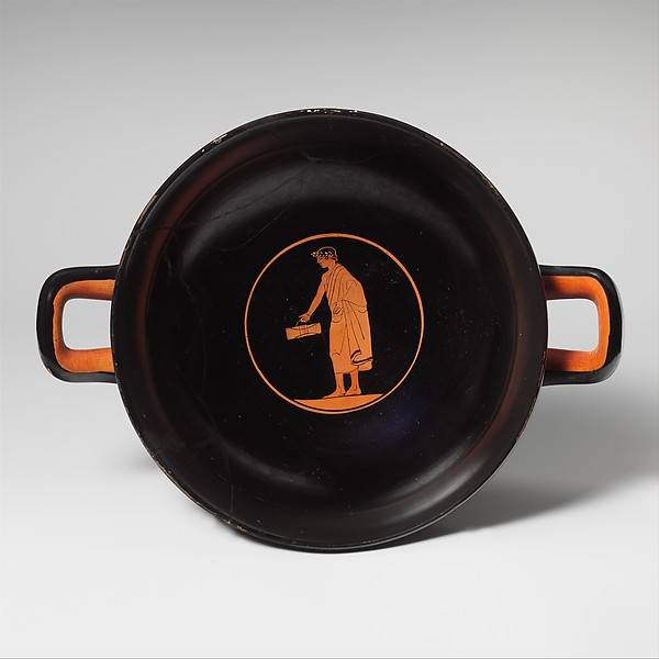 Terracotta kylix (drinking cup), Attributed to the Painter of Munich 2660, Terracotta, Greek, Attic