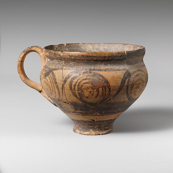 Terracotta hemispherical cup, Terracotta, Minoan