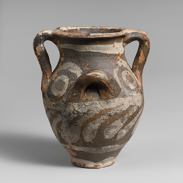 Small terracotta jar with four handles, Terracotta, Minoan