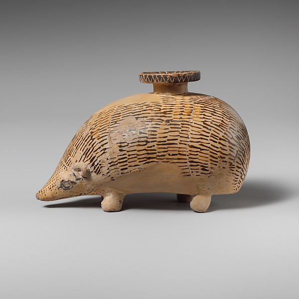 Terracotta aryballos (perfume vase) in the form of a hedgehog, Terracotta, Rhodian