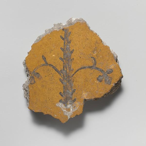 Wall painting fragment, Fresco, Roman