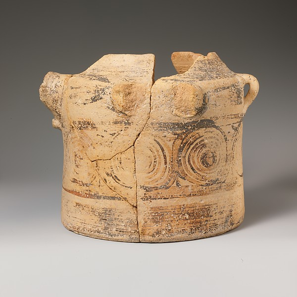 Terracotta bridge-spouted jar, Terracotta, Minoan