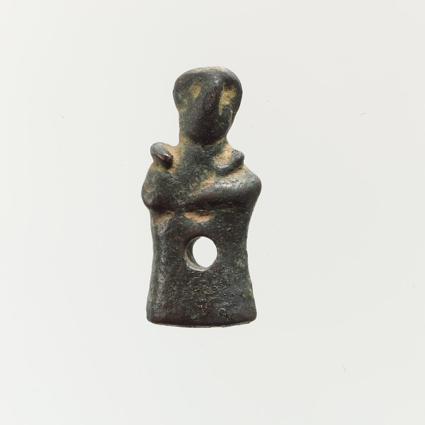 Bronze pendant in the form of a human figure, Bronze, Cretan