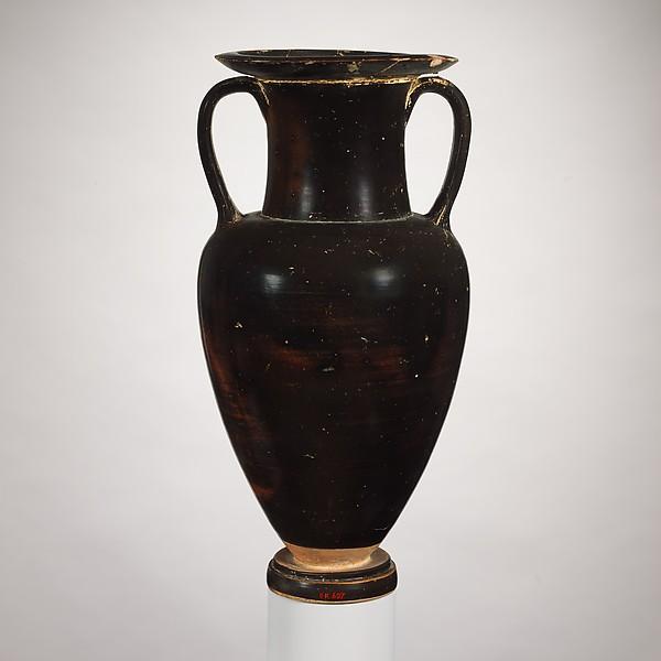 Terracotta neck-amphora (jar), Attributed to the Owl-Pillar Group, Terracotta, Greek, South Italian, Campanian