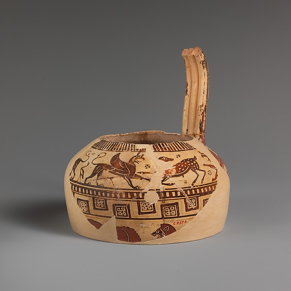 Fragment of a terracotta oinochoe (jug), Attributed to the Altenburg Painter, Terracotta, East Greek, Milesian, Fikellura