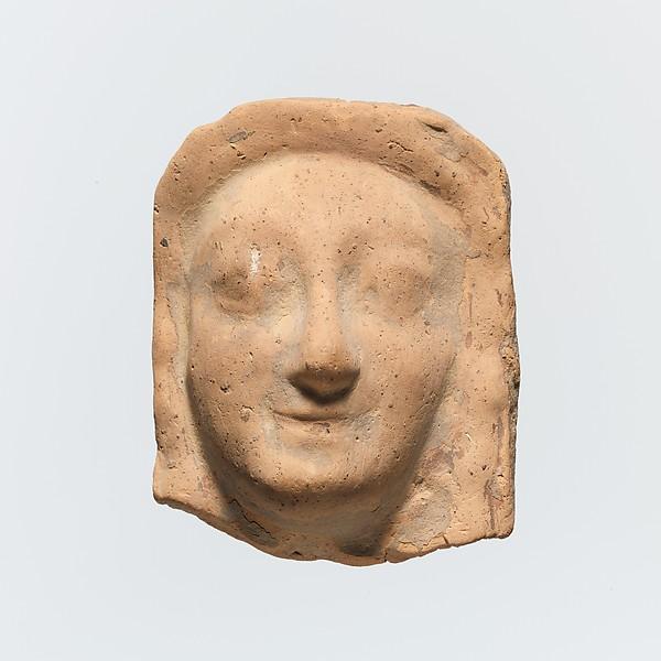 Fragment of a terracotta relief, Terracotta, Greek, Cretan