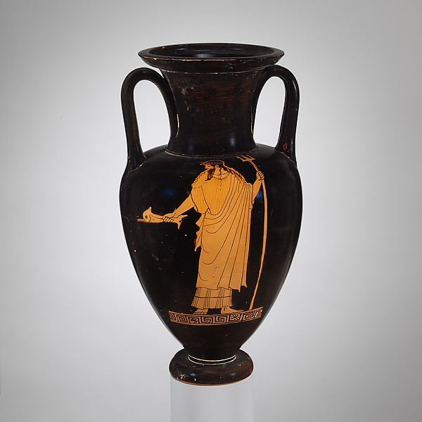 Terracotta Nolan neck-amphora (jar), Attributed to the Berlin Painter, Terracotta, Greek, Attic