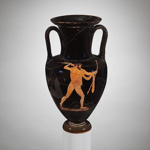 Terracotta Nolan neck-amphora (jar), Terracotta, Greek, Attic