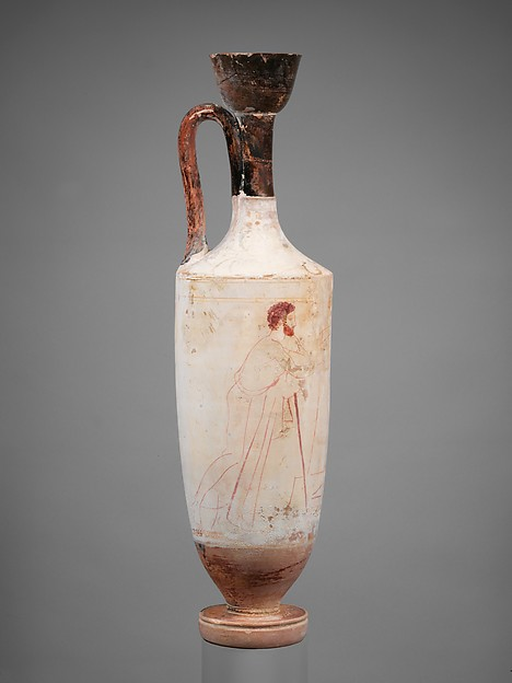 Terracotta lekythos (oil flask), Attributed to the Triglyph Painter, Terracotta, Greek, Attic