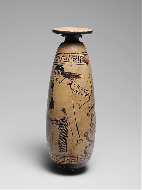 Terracotta alabastron (perfume vase), Attributed to the Painter of New York 21.131, Terracotta, Greek, Attic