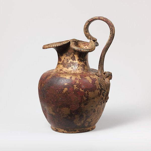 Bronze oinochoe (jug), Bronze, silver, Greek