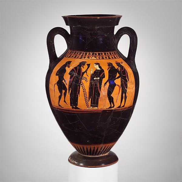Terracotta amphora (jar), Attributed to the Bateman Group, Terracotta, Greek, Attic