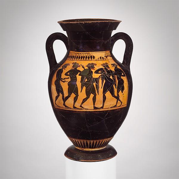 Terracotta amphora (jar), Attributed to the Acheloös Painter, Terracotta, Greek, Attic
