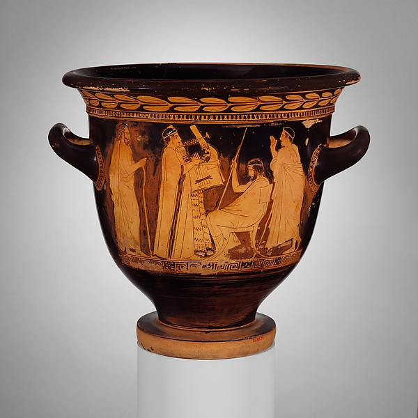 Terracotta bell-krater (bowl for mixing wine and water), Attributed to Polygnotos, Terracotta, Greek, Attic