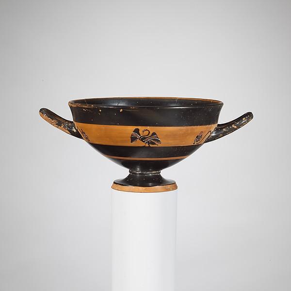 Terracotta skyphos (deep drinking cup), Terracotta, Greek, Attic
