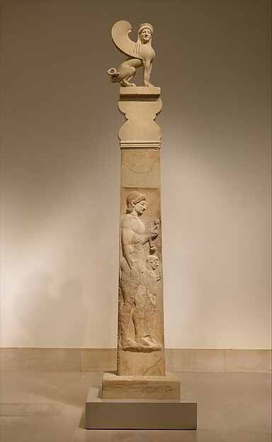 Marble stele (grave marker) of a youth and little girl with capital and finial in the form of a sphinx, Marble, Greek, Attic