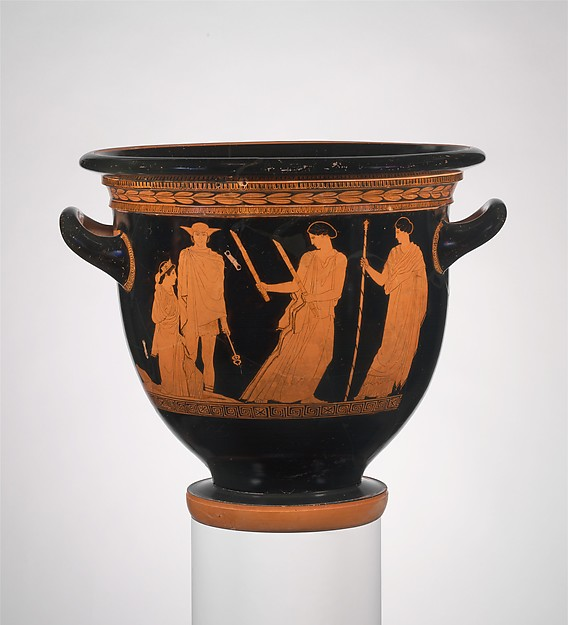 Terracotta bell-krater (bowl for mixing wine and water), Attributed to the Persephone Painter, Terracotta, Greek, Attic
