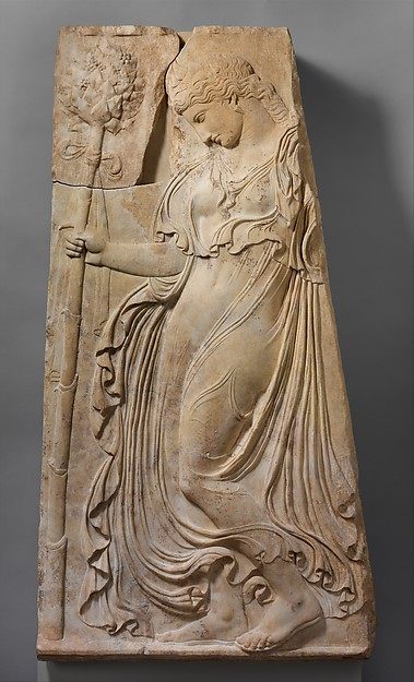 Marble relief with a dancing maenad, Adaptation of work attributed to Kallimachos, Marble, Pentelic, Roman
