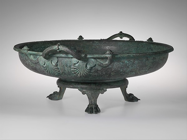 Bronze footbath with its stand, Bronze, Greek