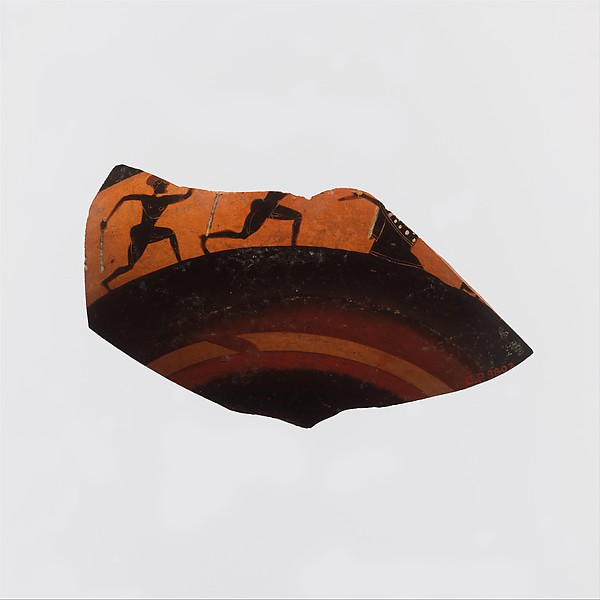 Fragment of a kylix: band-cup (drinking cup), Attributed to Elbows Out, Terracotta, Greek, Attic