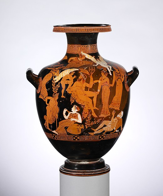 Terracotta hydria: kalpis (water jar), Attributed to the Erbach Painter, Terracotta, Greek, Attic