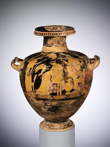 Terracotta hydria: kalpis (water jar), Attributed to the Washing Painter, Terracotta, Greek, Attic