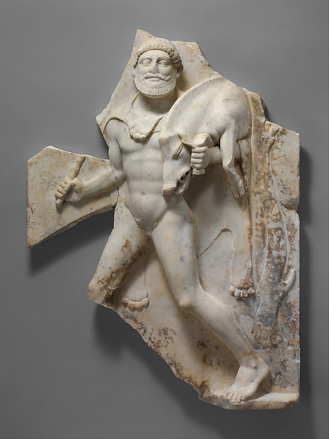 Marble relief with Herakles carrying the Erymanthian Boar, Marble, Roman