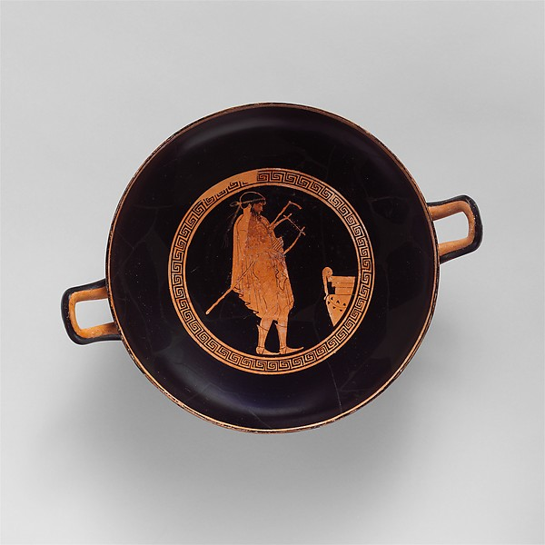 Terracotta kylix (drinking cup), Attributed to the manner of the Pistoxenos Painter, Terracotta, Greek, Attic