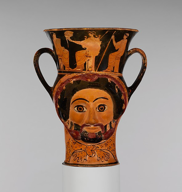 Terracotta kantharos (drinking cup) in the form of the heads of Herakles and of a woman, Attributed to the Syriskos Painter, Terracotta, Greek, Attic