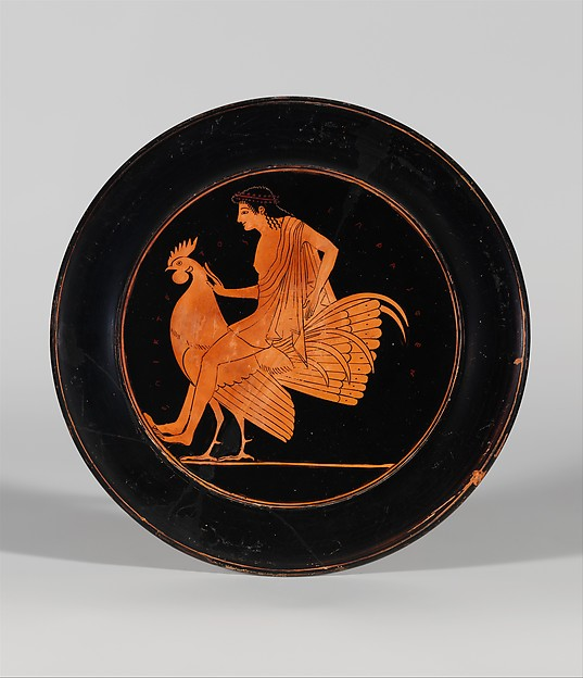 Terracotta plate, Signed by Epiktetos as painter, Terracotta, Greek, Attic