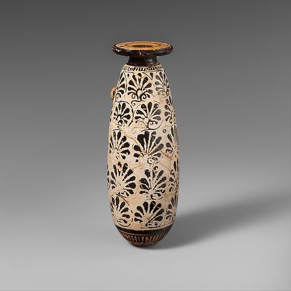 Terracotta alabastron (perfume vase), Attributed to the Group of the Paidikos Alabastra, Terracotta, Greek, Attic