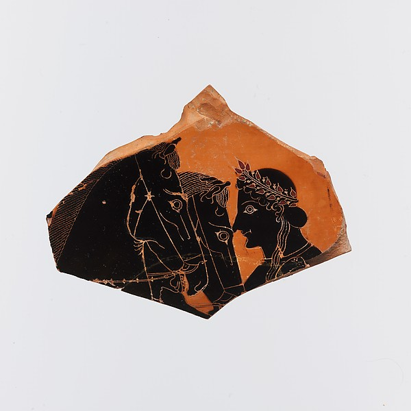 Fragment of a terracotta amphora (jar), Attributed possibly to the Painter of Vatican 365, Terracotta, Greek, Attic